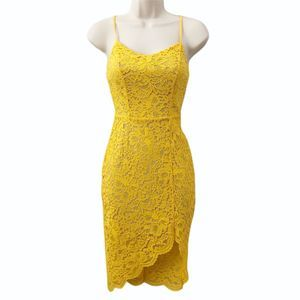 Material Girl Dress Lace Yellow XS New